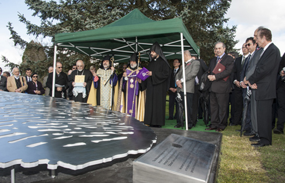 Members and leaders of the Armenian community of Vancouver unveil a memorial to the Armenian Genocide in Vancouver