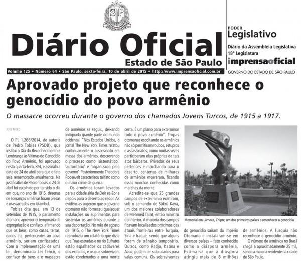 Brasil Sao Paulo Diario Oficial Genocide recognition